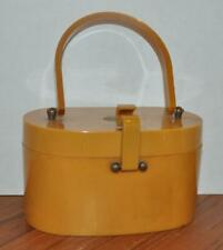 Vtg Butterscotch Catalin Lucite Purse Bag