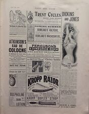 Kropp Razor, Dickins And Jones, Corset's, 1898 Antique Advert  Original