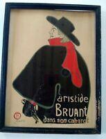 """Vintage 50s Henri de Toulouse-Lautrec """"Aristide Bruant Dans Son Cabaret"""" Print"""