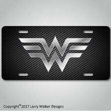 Wonder Woman  Aluminum silver on Carbon Fiber Look License Plate Tag New