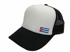 Cuba Cuban Flag Adjustable Classic Mesh Trucker Cap Caps Hat Hats Black White