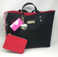 New Betsey Johnson Black Lg Tote 2 in 1 Handbag Purse Overnight Red Logo Heart