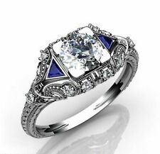 VINTAGE ART DECO 2.25CT WHITE & BLUE SAPPHIRE 925 SILVER ENGAGEMENT WEDDING RING
