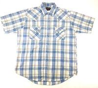 Plains Western Mens Large Pearl Snap Shirt Large Blue White Plaid