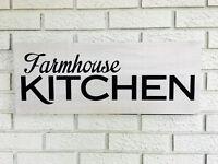 "Large Rustic Wood Sign - ""Farmhouse Kitchen"" -Fixer Upper, HGTV, White"