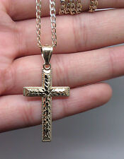10k Amarillo Oro con 1.7 Gram 3.8cm 5mm Diamante Cortes Diseñado Cruz Abalorio
