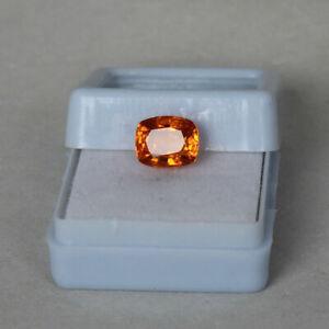 3.30 Ct. Natural Ceylon Orange Padparadscha Sapphire Cushion Cut Loose Gemstone
