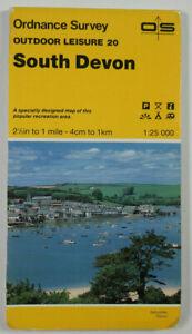 1986 Old Vintage OS Ordnance Survey Outdoor Leisure 1:25000 Map 20 South Devon