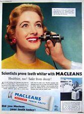 1955 MACLEANS 'Peroxide' Toothpaste Print ADVERT - Vintage Photo AD Original