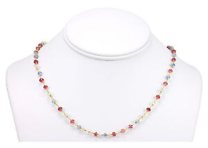 Pink Sapphire Necklace Natural Multiple Color 14k Gold Filled Chain Bead 18 19