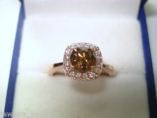 1.23 CARAT FANCY BROWN CHAMPAGNE DIAMONDS  COCKTAIL RING 14K ROSE GOLD HALO PAVE
