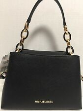 NEW Michael Kors Small Portia E/W Black Saffiano Leather Shoulder Handbag $298