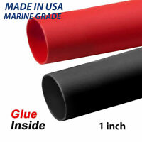 """1"""" Black & RED Adhesive Glue Lined Heat Shrink, MADE IN USA,MARINE GRADE THICK"""
