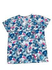 Womens Fashion Medical Nursing Scrub Print Tops Blue Hearts Dots Ribbons XL