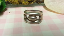 Beautiful Art Deco Heavy Solid Band Ring 925 Sterling Silver Size 5 E372