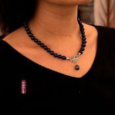 Collar perla cultivada Negro Gris Plata Enorme 925 Pajarita Gota TZ