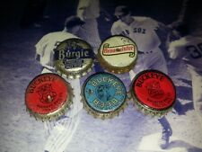 5 Vintage  Beer Bottle Cap Crowns Cork Lined BURGIE, BUCKEYE, BRAUMEISTER