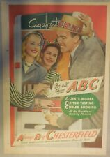 Chesterfield Cigarette Ad: ABC = Always Buy Chesterfields ! Tabloid Page 1940's