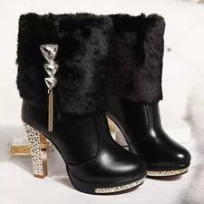 Winter Womens Ankle Martin Boots Rhinestone Chunky Heel Fur Top Platform Shoes