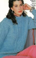 """1039 Ladies Girls Chunky Cable Sweater  30-42"""" Vintage Knitting Pattern"""