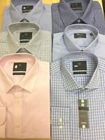 EX- M&S COTTON RICH EASY TO IRON CHECK& STRIPED LONG SLV REG:& SLIM FIT SHIRTS