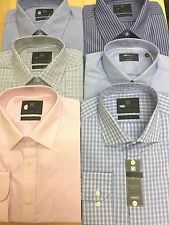 M&S COTTON RICH EASY TO IRON CHECK& STRIPED LONG Sleeve REG:& SLIM FIT SHIRTS