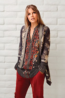 💕NWT JOHNNY WAS JWLA Embroidered OTHILIA KNIT DRAPE Cardigan Jacket L $325 💕