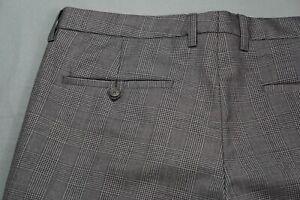 Hugo Boss Crigan1-US Flat Front Wool Dress Pants, Slacks. Glen Plaid, 34X34 MINT