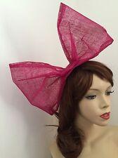 NEW Fascinator Fuchsia Pink Big Bow 80s Large Headpiece Hairband Hen Wedding