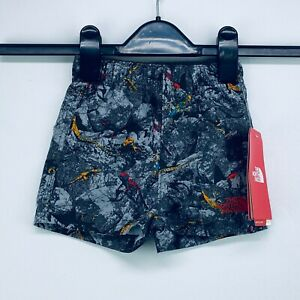 The North Face 3-6 Months Hiking Water Shorts Elastic Waist Gray Lizards NWT D34