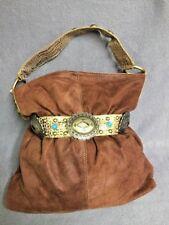 Kathy Van Zeeland Brown Faux Suede Handbag Purse with Belt