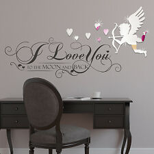 Love Cupid Mirror Quote Wall Sticker Decoration Home Art Decal 130cm x 60cm