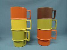 Vintage Tupperware Harvest Stacking Mugs Cups lot of 6 Orange Green Yellow Brown