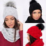 Mütze Damen Set Schal 2 teilig Beanie Warme Bommel Winter Strick Fell Gefüttert