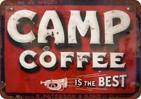 "Camp Coffee Vintage Rustic Retro Metal Sign 8"" x 12"""