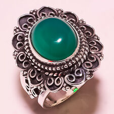 New listing GREEN AVENTURINE VINTAGE STYLE 925 SOLID STERLING SILVER RING SIZE 6.50 US