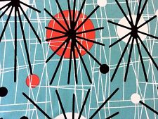 RPFCHE03C RARE Retro Atomic Era Sputnik Starburst MCM Modern Cotton Quilt Fabric