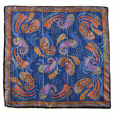 "SANTOSTEFANO Blue Purple 15"" Silk Paisley Pocket Square Handkerchief NWT $150!"