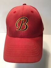 """Trucker Hat Baseball Cap Red with Black """"B"""" outlined in Gold Fitted Large/XL"""