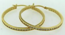 14K Gold Plated 1/2 Ctw Cubic Zirconia Hoop Earring Oro Laminado- Made in USA