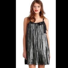 Rachel Roy Size Large Metallic Pleat Bag Dress Solid Black Metallic