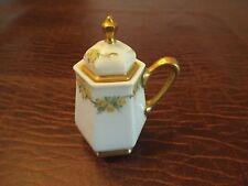 BELLEEK Antique Mustard Pot  Original Spoon L In Palette Yellow Roses 3 piece