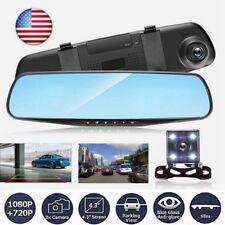 HD LCD Mirror Monitor Dash Cam Dual Lens Car DVR Reverser +Rear View Camera Kit