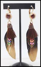 Boucles d oreilles BIJOUX plume chic strass pompon paris marron or dore mode