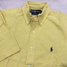 RALPH LAUREN Shirt Generous Size S YELLOW BLUE Check Short Sleeve Cotton Shirt