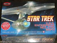 USS ENTERPRISE NCC-1701 Refit Model Kit Aztec Polar Lights Star Trek + Hologram!