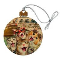 Venice Italy Cats Selfie Wood Christmas Tree Holiday Ornament