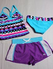 NWT!  ZeroXposure  Racer Back Tankini Swimsuit w/Shorts, Purple Blue Pink,  7