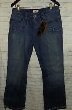 Antik Denim Button Fly 5 Pocket Turquoise Beaded Flare Blue Jeans Size 31 x 33