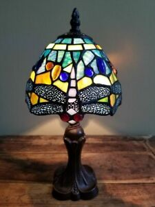 "NEW Tiffany Style Multi-Color 12"" Stained Glass Dragonfly Accent Lamp"